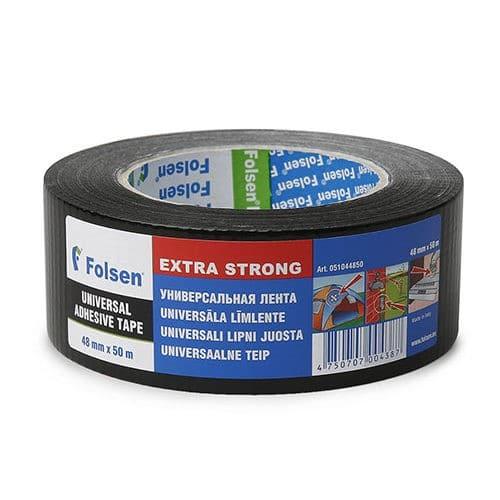 Niiskuskindel Extra Strong teip 48mmx25m, 270µm, must, kangas/PE