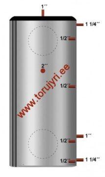 Isoleeritud akumulatsioonipaak 265L ø 650 niplitega